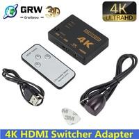 4K * 2K 3D Mini 3 Port compatible con HDMI interruptor 1.4b 4K Switcher divisor 1080P 3 en 1 puerto Hub para DVD HDTV Xbox PS3 PS4