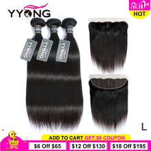 Yyong 13x4 laço frontal com pacotes peruano em linha reta com frontal remy cabelo humano orelha a orelha frontal do laço com pacotes