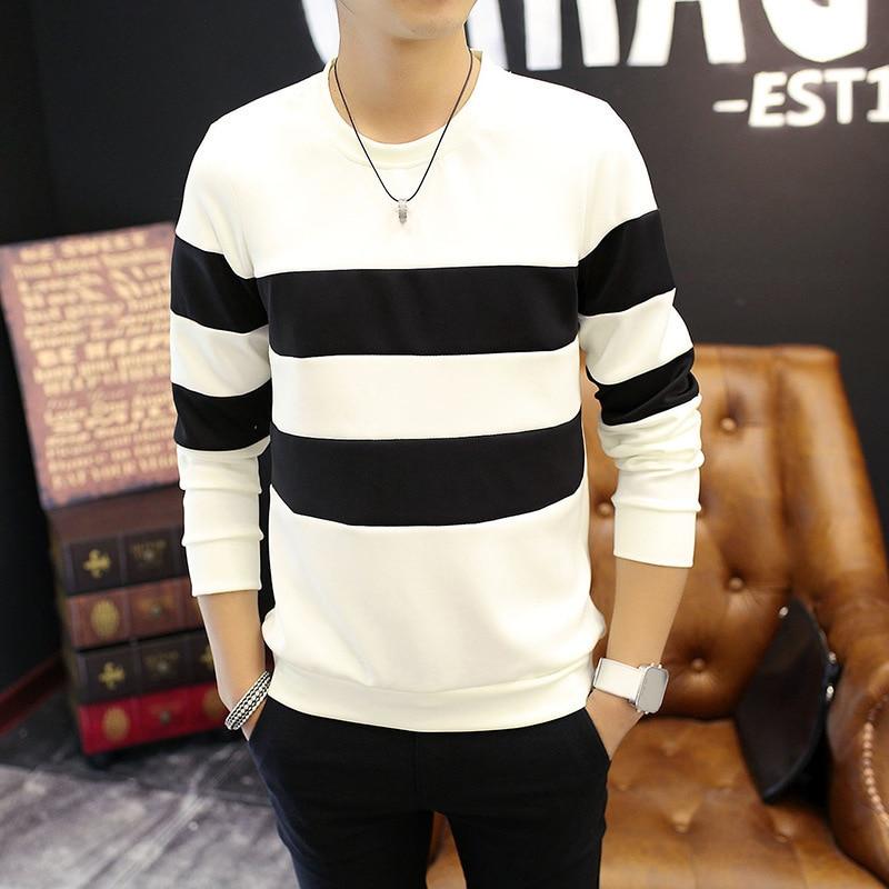 Men's Fashion Casual Long Sleeve T-shirt/New Slim Wide Stripe Top