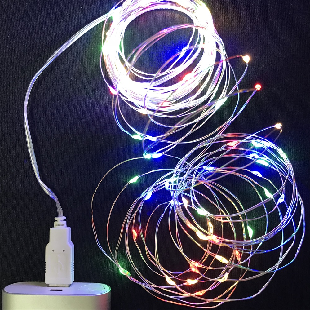 Nicoail LED String Light Copper Wire Fariy Light USB Operated Garland Decoration 1M Party Wedding Christmas Cake Birthday Lights
