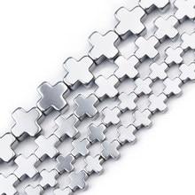 Jhnby 6/8/10mm silvers cruz hematite natural pedra charme espaçadores grânulos soltos para fazer jóias diy pulseira pingente descobertas