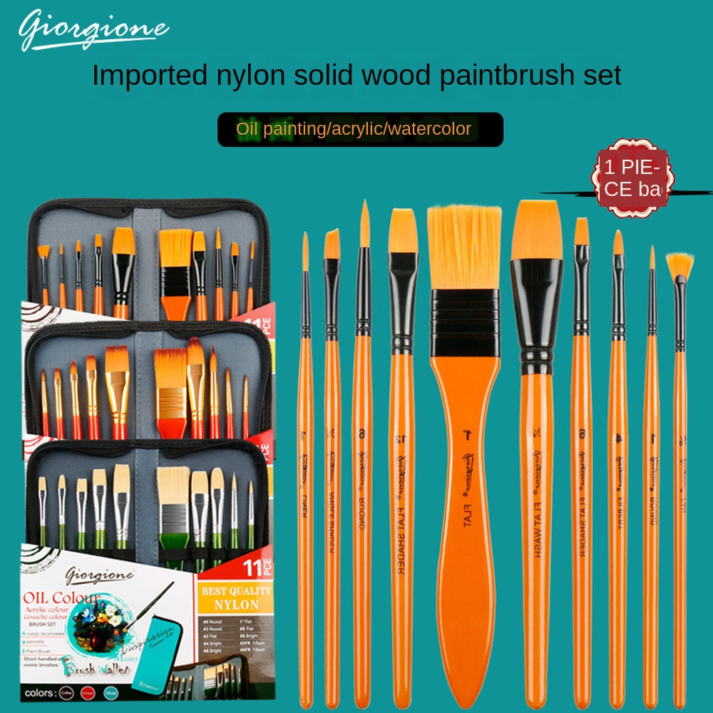 Outdoor And Indoor Learning Oil Painting Brush 11-Piece Set Watercolor Oil Painting Art Brush With Cloth Bag