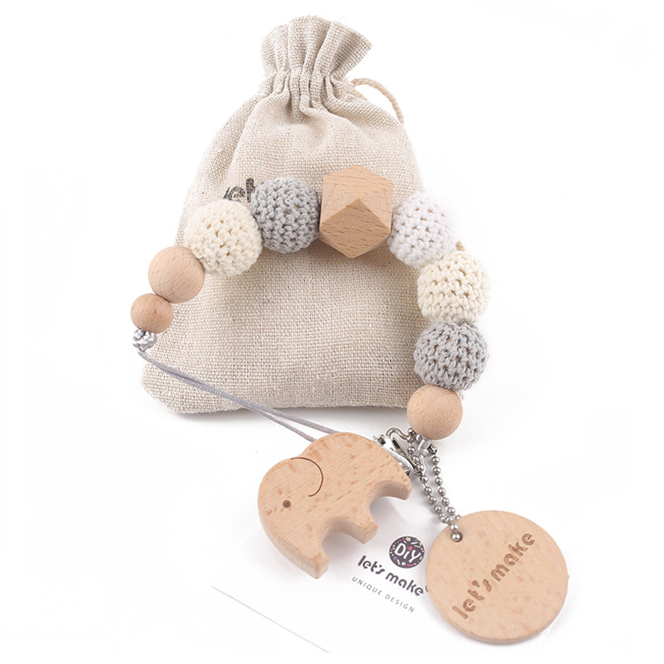 Wooden Clip Chain Pacifier-Holder Crochet-Beads-Bag Tiny Baby 1PC Rod Geometric Elephant