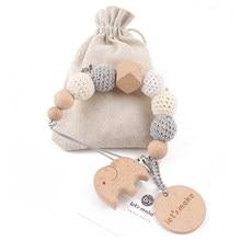 1PC Baby Schnuller Kette Elefant Holz Clip Geometrische Häkeln Perlen Tasche Holz Beißring Tiny Stange Dummy Clips Baby Schnuller halter