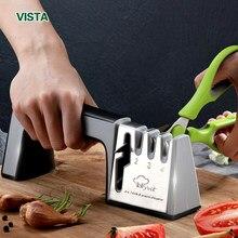 Sharpener de faca 4 em 1 diamante revestido & haste fina faca tesouras e tesoura sistema pedra afiar lâminas aço inoxidável
