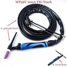 Tocha de soldagem tipo gtaw wp26v, válvula de tungstênio e gás A 200 argon 4m 13ft, tocha refrigerada a ar de 150 300a máquina de soldagem tig