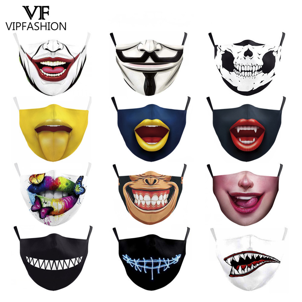 VIP FASHION Cute Kid's Mask Cartoon Clown Animal Face Masks Fabric Protective PM2.5 Anti-pollution Mouth-muffle Washable Masks