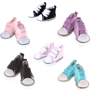 1 Pair 5cm Canvas Sneakers For Dolls Paola Reina Minifee,Mini Toy Gym Shoes 1/4 Bjd Doll Sports Shoes Accessories for Dolls Toys(China)