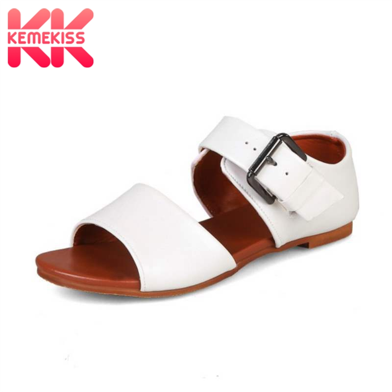 KemeKiss 2020 New Women Flat Sandals Fashion Buckle Summer Shoes Women Casual Daily Sandal Street Lady Home Footwear Size 34-43