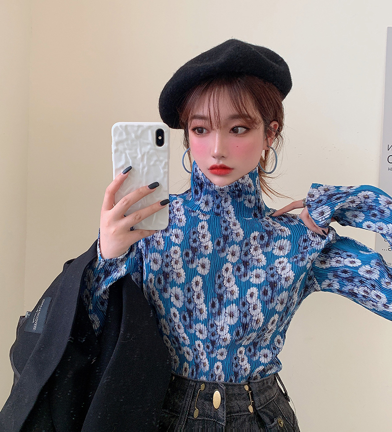 2020 Spring Autumn Floral Chiffon Shirt Turtleneck Long Sleeve Blouses Womens Tops And Blouse (R98015)