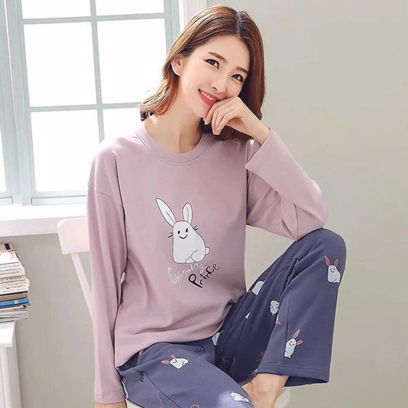 Women Pajamas Set Thin Sleepwear Pajamas For Women New Cartoon Pijama Printed Pyjamas Women Long Sleeve Cute Pijama Mujer Pajama