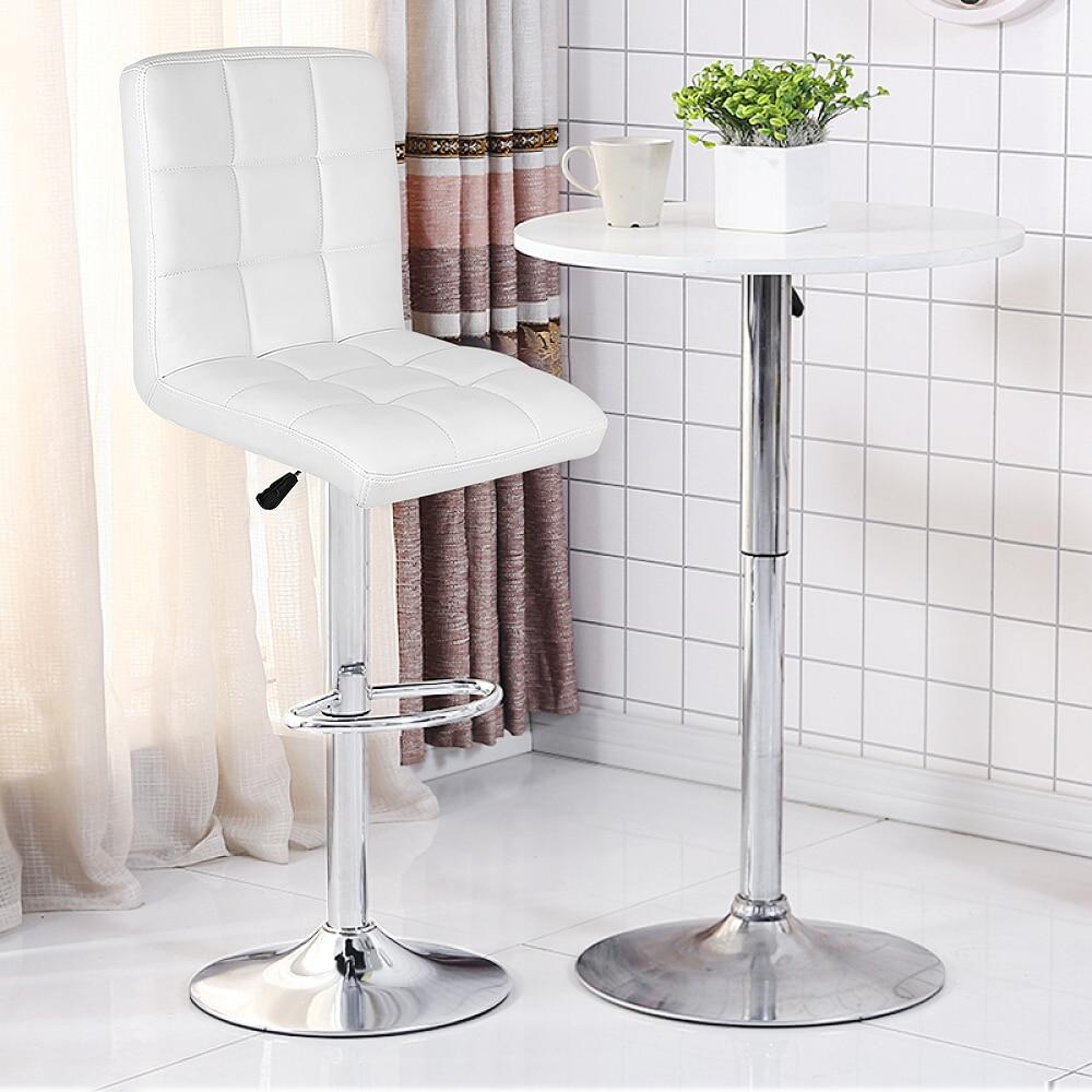 1Pair Modern Fashion Bar Chair Square Shaped Backrest PU Leather Swivel Bar Chair Stool Height Adjustable Lift Bar Stools HWC