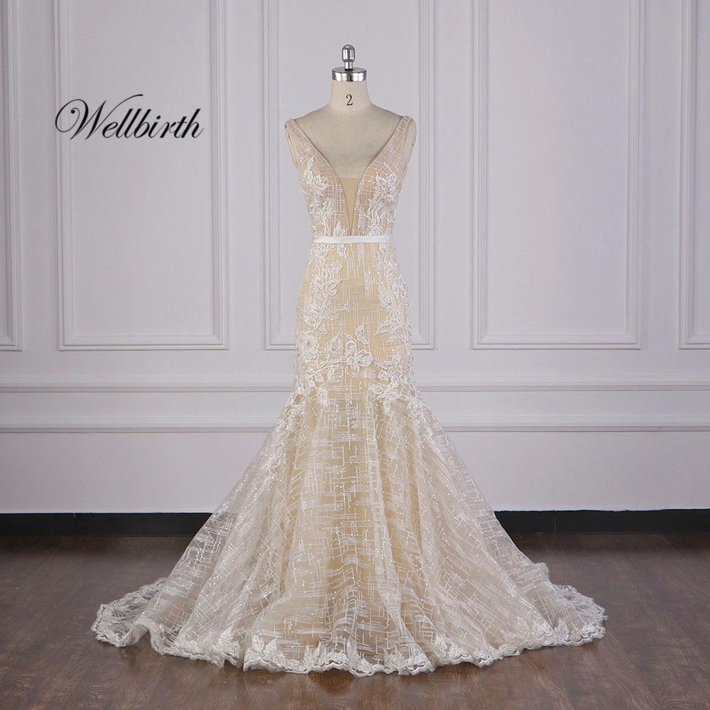 100% image réelle wellborn Vestido de novia 2020 luxe décolleté en V sirène robe de mariée casquette manches robe de mariée JC024