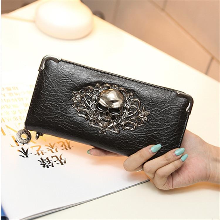 2020 Women's Wallet Skull Fashion Handbag PU Long Punk Clutch Bag Mobile Phone Bag Purse Designer Wallets Famous Brand Louis