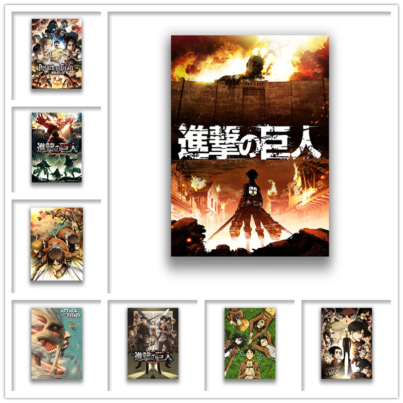 Japanese Anime Attack On Titan Wall Stickers White Coated Paper Prints Clear Image Home Decoration Livingroom Bedroom
