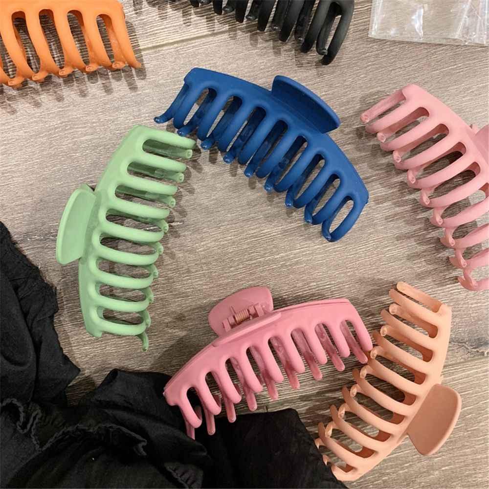 1Pc Korea Solid Big Rambut Cakar Elegan Frosted Rambut Klip Jepit Rambut Barrette Hiasan Kepala untuk Wanita Wanita Rambut Aksesoris