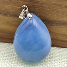 Натуральный Синий Аквамариновый кулон 29x23x13 мм капли воды