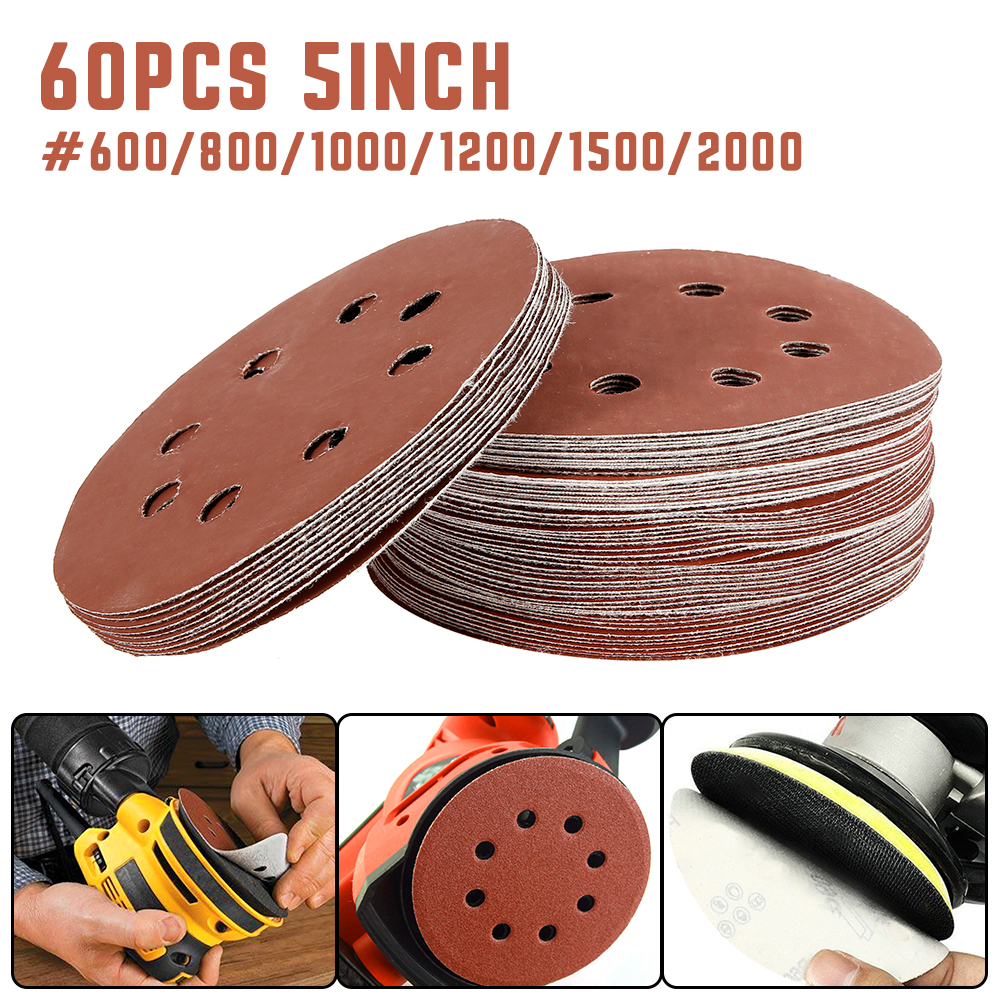 60pcs 5 In Hook Loop Abrasive Sand Paper Sanding Discs Pad With 8 Holes Grits 600~2000 Available Abrasive Tools