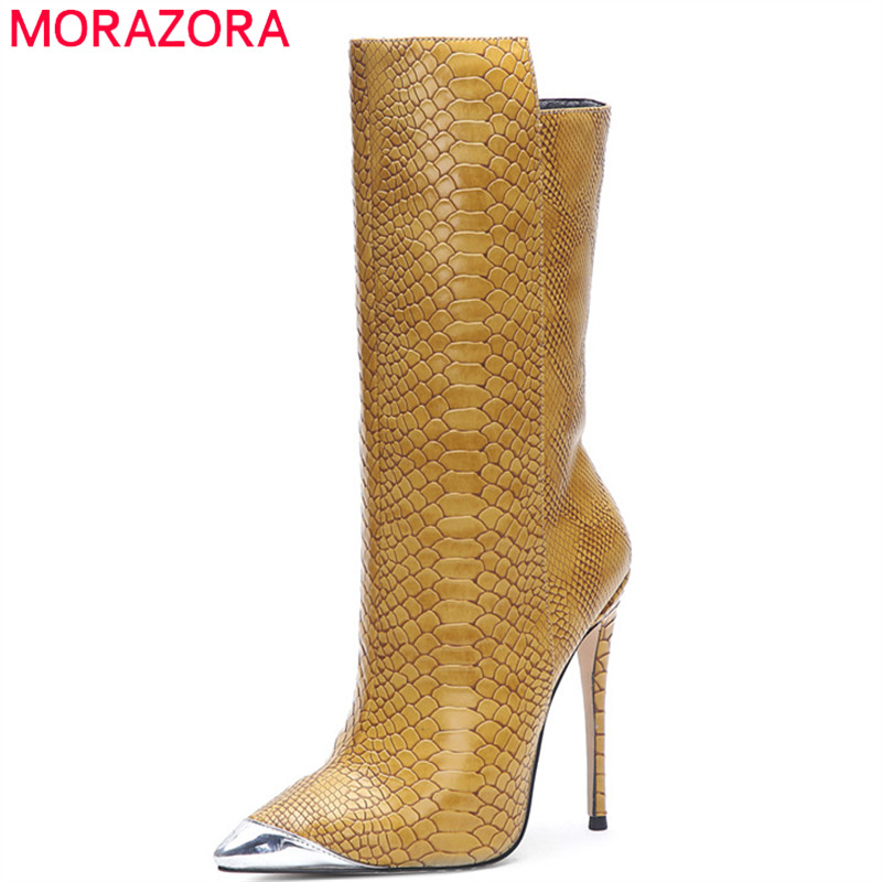 MORAZORA 2020 New Fashion Brand Thin High Heels Party Wedding Shoes Ladies Autumn Winter Boots Elegant Mid Calf Boots Women