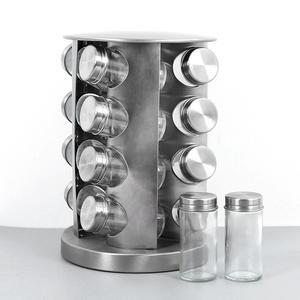 Нержавеющая сталь стеклянная банка для хранения специй вращающаяся Полка Для Приправ Для 16 бутылок прочный кухонный Органайзер 1,9