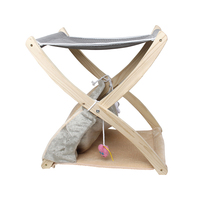Foldable Pet Cat Wood Bed Cat scratch board Plush Nest Mouse Toy Supply