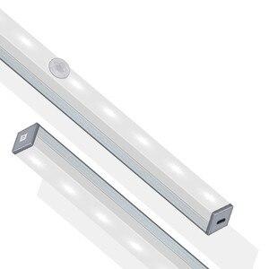 Image 2 - محس حركة ضوء الليل المحمولة 14/20 LED إضاءة الخزانات USB شحن التعريفي ليلة مصباح لغرفة النوم غرفة المعيشة الممر