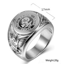 Stainless Steel Silver plated US Marine Military Rings size 7-13 Badge Eagle United States Army Men's Signet finger Ring r006 7 skull shaped stylish titanium steel ring silver us size 6