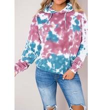 Loozykit Women's Print Hoodie Long Sleeve Pocket Dyed Hoodie Women's Loose Street Fashion Sweatshirt 2019 ombre topstitched pocket design hoodie