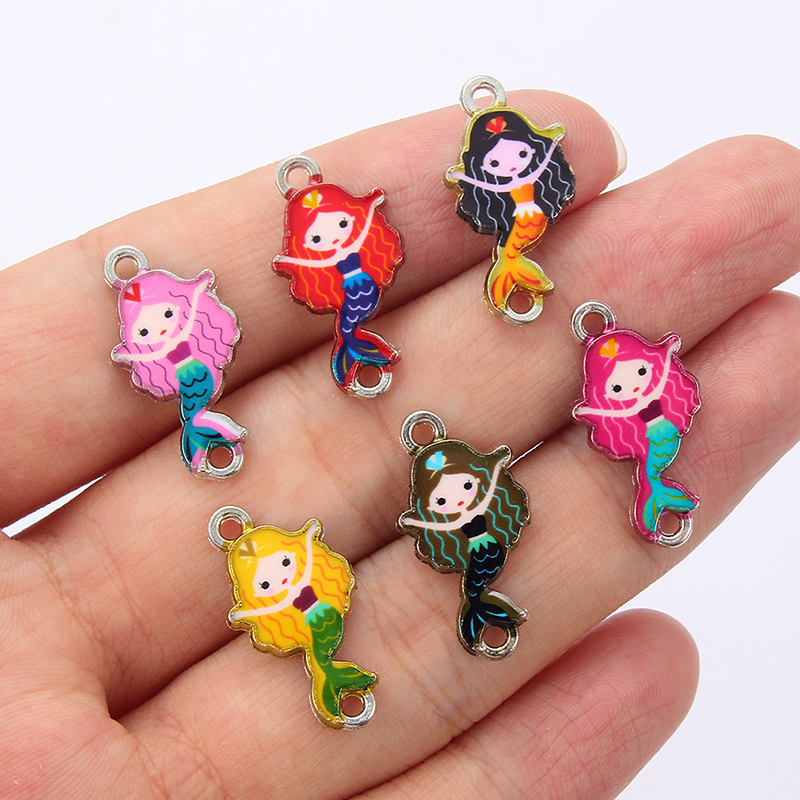 New Style DIY Ocean Beach Enamel Charms Mermaid Princess Alloy Connectors For DIY Handmade Jewelry Bracelet Necklace Finding