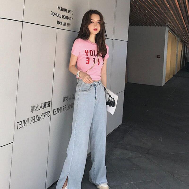 High Street Women Jeans Casual straight leg jeans Summer New High Waist Loose Fitting Light Blue Wide Leg Female Pants Stylish