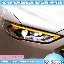 اكسسوارات السيارات لفورد مونديو LED 2016 2018 المصباح ل جديد الانصهار رئيس مصباح ديناميكية بدوره إشارة LED DRL ثنائية زينون HID