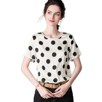 White Polka Dot Silk Tee Shirt Femme Summer Short Sleeve Shirt 100% Silk T Shirt Women Tops Office Ladies Work Basic Clothes ins