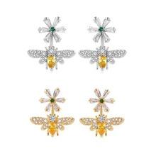 Exquisite inlaid zircon earrings jewelry 925 needle earrings personality bee daisy ladies earrings недорого