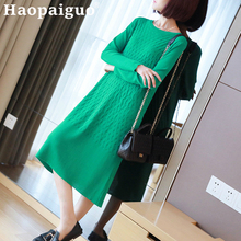 M-XXL Plus Size Autumn Black Dress Women Long Sleeve Oversized Streetwear Casual Knitted Green Sweater