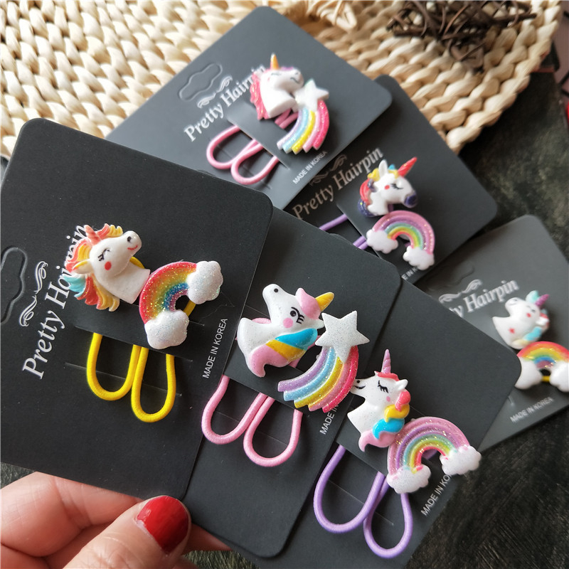 2PCS New Cute Cartoon Rainbow Horse Kids Elastic Hair Bands Children Ropes Girls Accessories Baby Headdress Princess Headwear