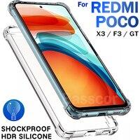 fundas de silicona a prueba golpes carcasa Original lujo a prueba de golpes, transparente, funda de teléfono para Xiaomi Poco X3 Pro Nfc F2 M3 F3 GT Pro X3 GT F1 Redmi Note 10 9 7 8 9t Pro 9a 9c contra caídas estuche