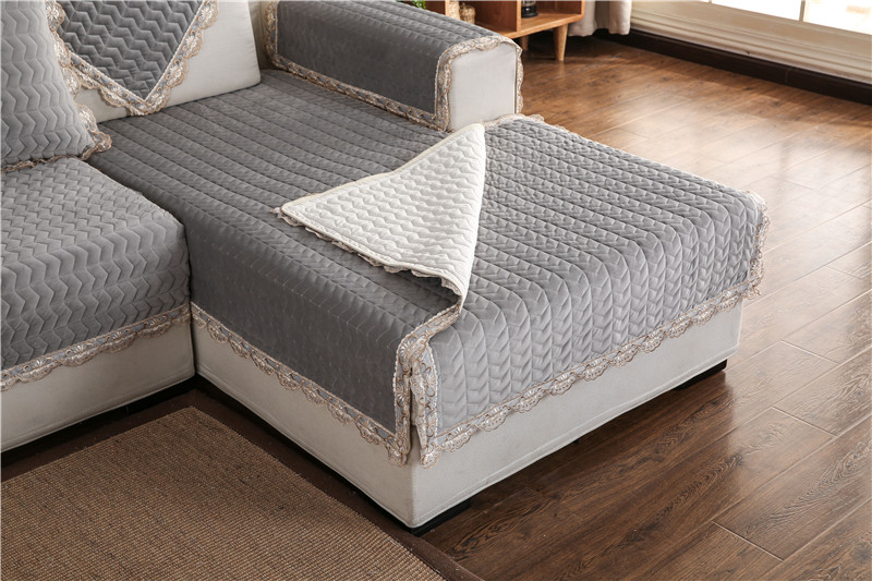 Thick Slip Resistant Couch Cover for Corner Sofa Made with Plush Fabric Including Lace for Living Room Decor 57