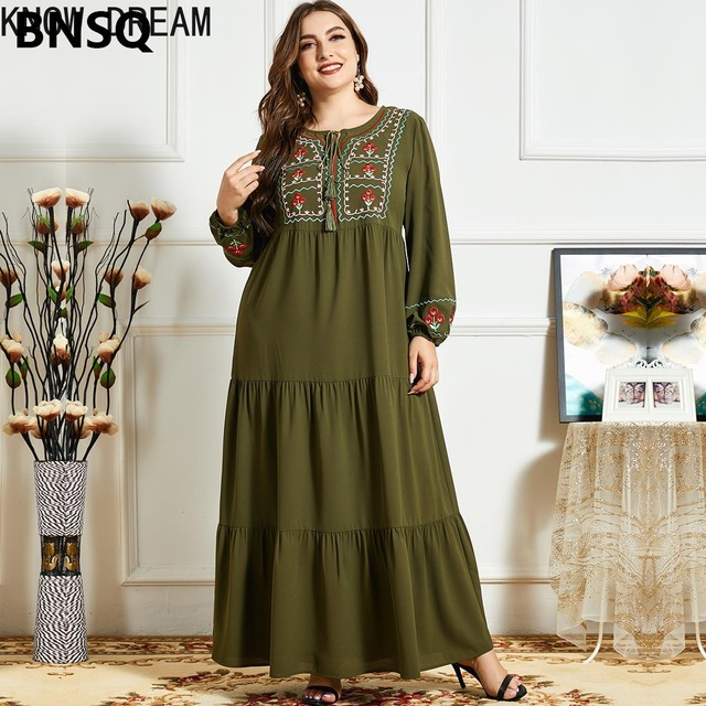 KNOW DREAM Women Fashion Comfortable Blue Embroidered Long Sleeve Multilayer Fold Army Green Dress Arab Robe 5