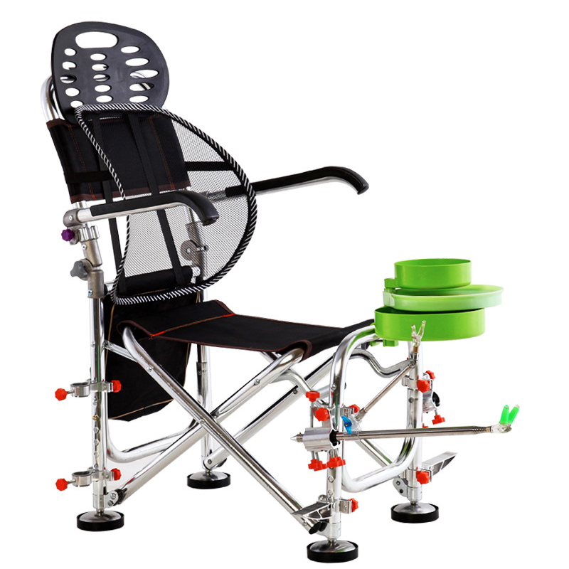 15%,Outdoor Folding Fishing Chairs Rotatable Adjustment Portable Aluminum Alloy Chair With Fishing Rod Support