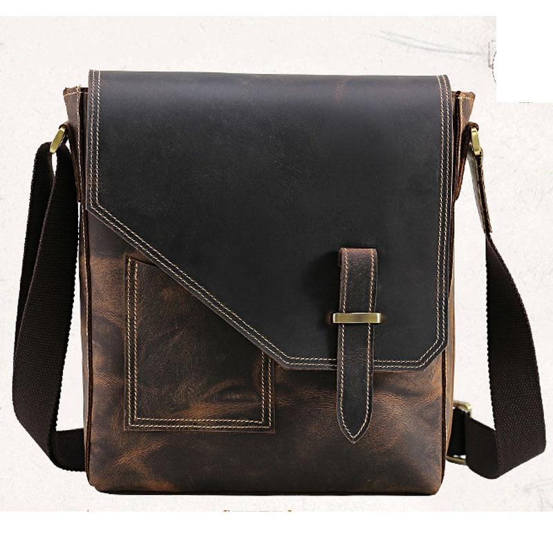 Retro Mens Small Cowhide Leather Messenger Bags Crossbody Business Shoulder Bag