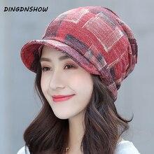 [DINGDNSHOW] 2019 Brand Winter Cap Cotton Flat Bonnet Hat Warm Print Lady Beanies Women