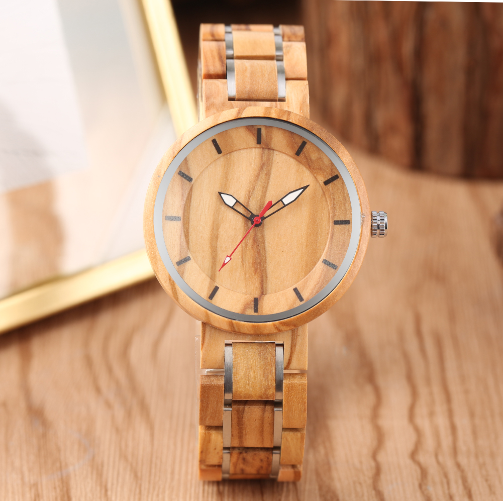 Watches for Men Bamboo Wood Men's Stainless Steel Belt Wooden Band Quartz Watch Top Brand Luxury Wood Male Wristwatch Clock Hour