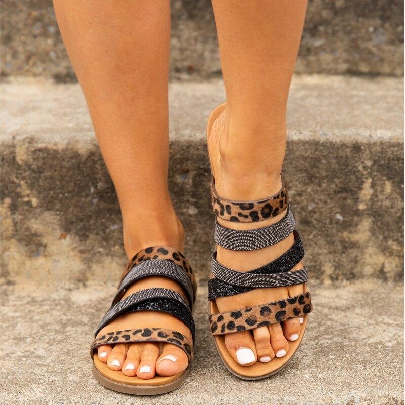 Leopard Women's Sandals 2020 Summer Bohemian Style Peep Toe Ladies Flat Sandals Dropshipping Female Casual Beach Shoes