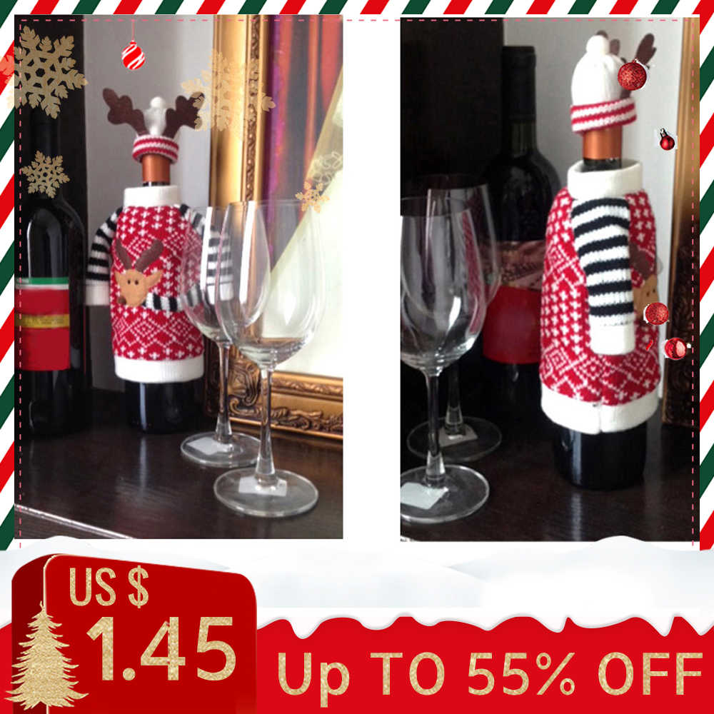 Christmas Red Wine Bottle Cover 2019 Hotel Dining Room Merry Christmas Decor Red Wine Bottle CoverChristmas Decorations For Home