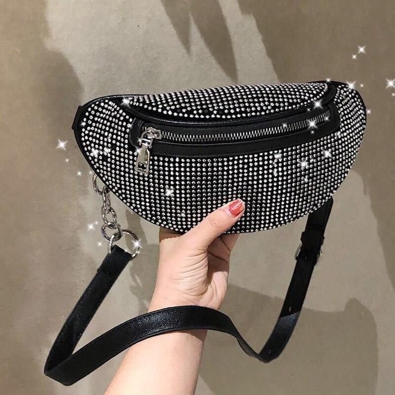 SXCNN Fashion Small Waist Bag Female 2019 New Chain Crossbody Bag Wild PU Leather Chest Bag Chain Shoulder Messenger Money Bag