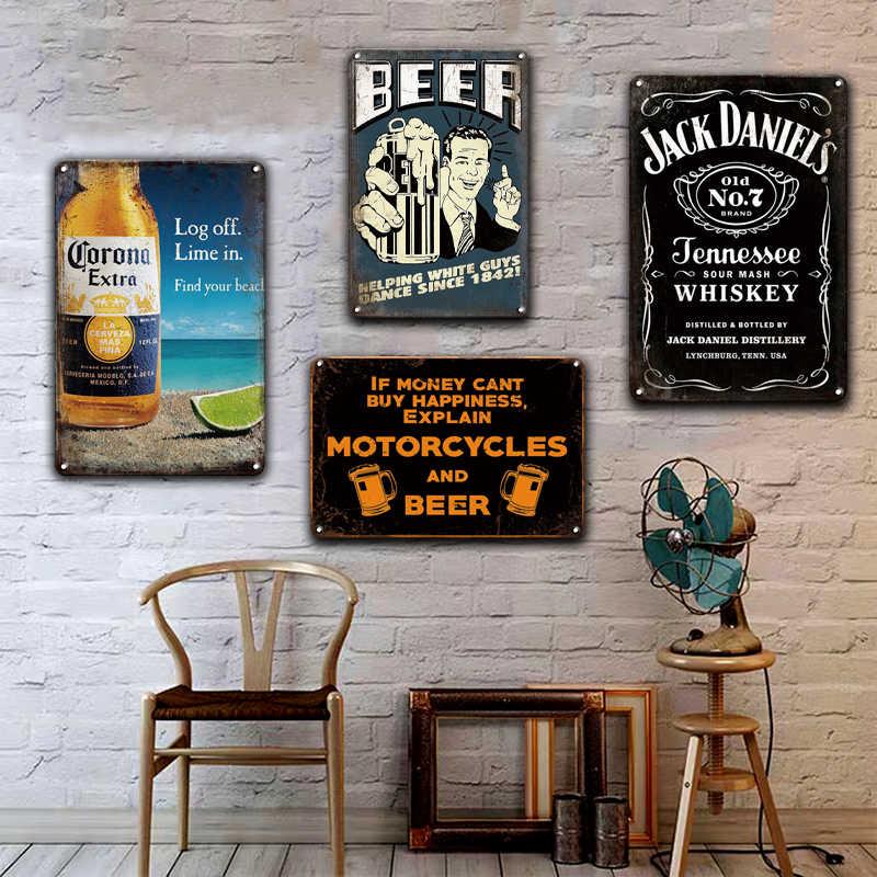 Kawa Corona piwo JACK wino Metal Wall Art znak blaszany Vintage irlandzki Pub Cafe kuchnia Home Decor Retro koktajl metalowe znaki ścienne