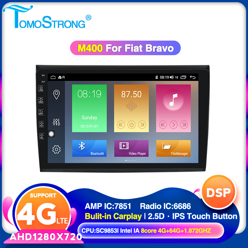 TOMOSTRONG 4GB 64GB 2 Din Car Dvd Multimedia Player For Fiat Bravo 2007-2012 Android 10 GPS Navigation Wifi Obd Touch Screen