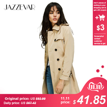 JAZZEVAR Outerwear Trench-Coat Waterproof Double-Breasted Woman High-Fashion-Brand Classic