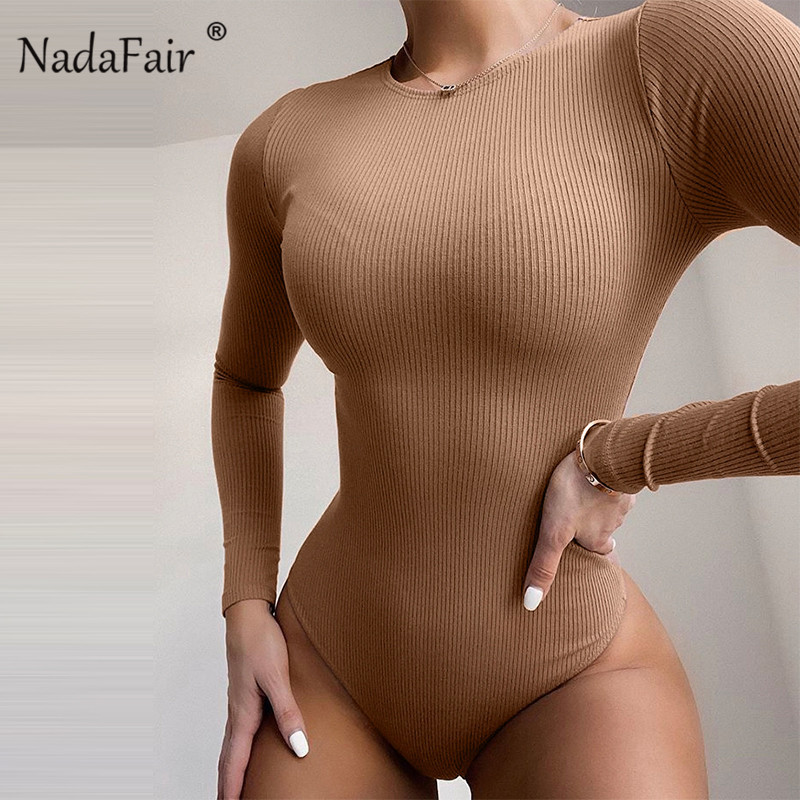 Nadafair Winter Knitting Bodysuit For Women Long Sleeve Bodysuit Women Ribbed Autumn Bodycon Bodysuits Body Female 2020 Romper