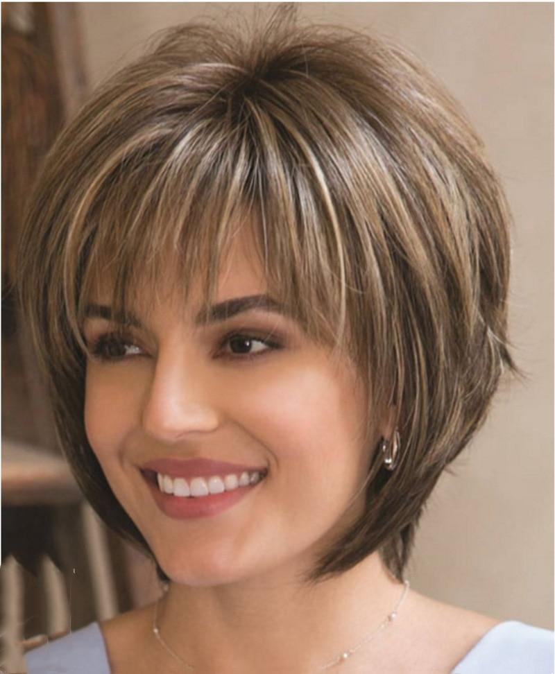 Lunatique W femmes synthétique mélangé blond brun perruques courtes perruques de cheveux naturels résistant à la chaleur perruque de cheveux pour les femmes